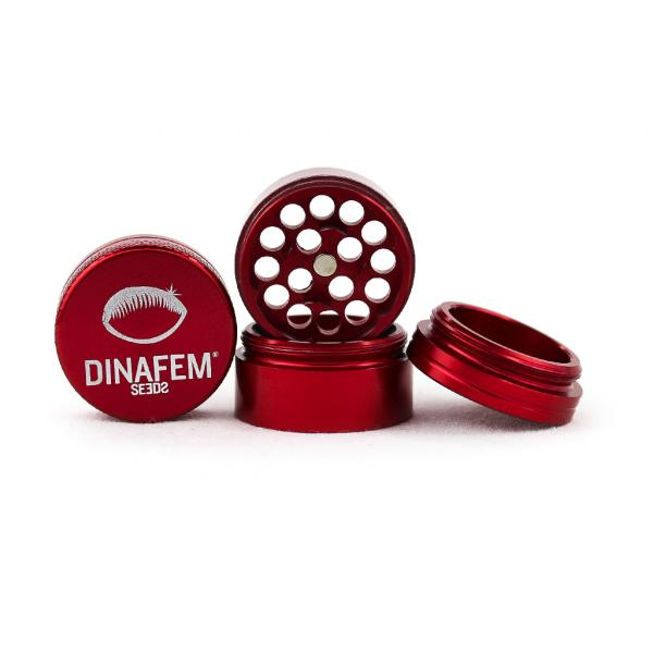 Dinafem Aluminium Grinder 30 Mm 4 Parts (Red)